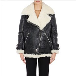 Acne Velocite Cracked Leather Shearling Jacket